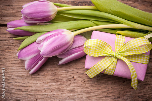 pink  tulips with a gift box