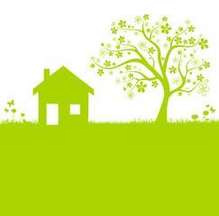 Wiese mit Baum und Haus