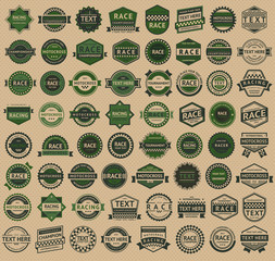 Racing badges - vintage style, big green set