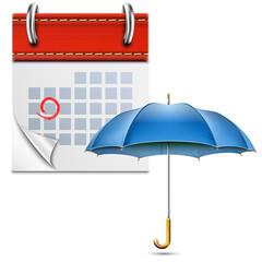 Loose-leaf Calendar With Open Umbrella.