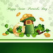 Saint Patrick's Day card with hat ,horseshoe and clover