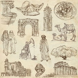 LIBYA. Collection of hand drawn illustrations on paper