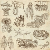 MORROCO. Collection of hand drawn illustrations on paper