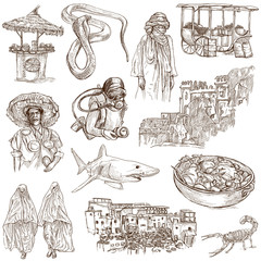 MORROCO. Collection of hand drawn illustrations on white