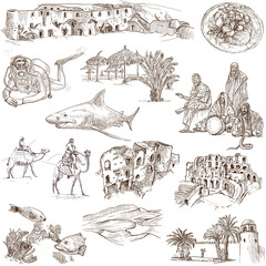 TUNISIA. Collection of hand drawn illustrations on white