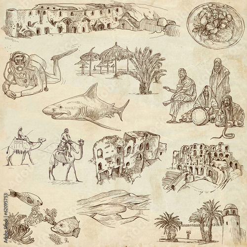 TUNISIA. Collection of hand drawn illustrations on paper