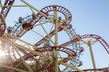 Ferris Wheel and Roller Coaster in Vienna, Austria.