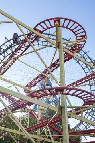 Ferris Wheel and Roller Coaster in Vienna, Austria.