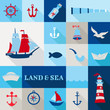 Set of Nautical Vintage Elements - for invitation, web