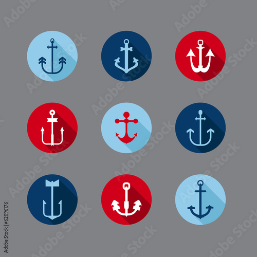 Set of Anchor Nautical Icons - for your logo, design, scrapbook