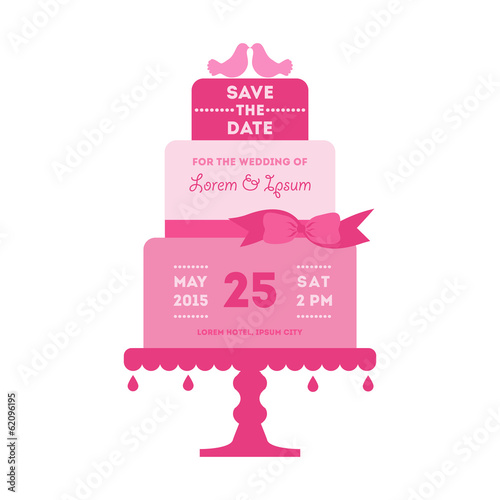 Save the Date - Wedding Card with Cake
