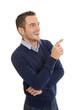 Erfolgreicher junger Geschäftsmann abgewandt mit Zeigefinger