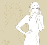 Beautiful fashion woman in sketch style vector illustration.