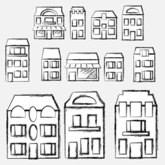 Vector hand-drawn set: houses and real estate
