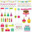 Happy Birthday and Party Set - for design and scrapbook