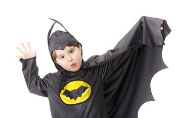 Boy with carnival costume. Little hero - batman