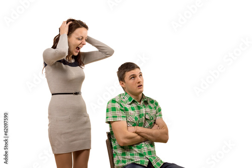 Young woman arguing with her boyfriend