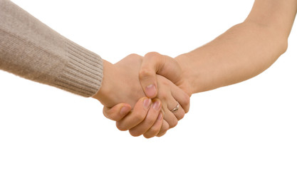 Handshake between a man and woman
