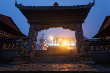 Gate of the Tengboche monastery at night