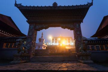 Gate of the Tengboche monastery at night