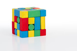 jigsaw puzzle cube toy, multicolor wooden pieces, colorful game