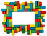 Toys blocks frame, multicolor wooden building game bricks