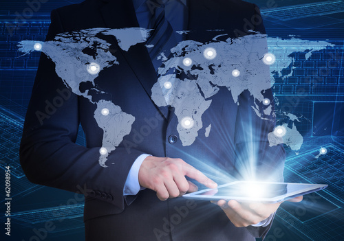 Man in suit, world map and contacts