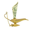 Dollar bill sticking out of magic lamp of Aladdin