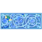 Blue decorative herbal border