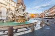 Leinwanddruck Bild - Piazza Navona, Fontana del Moro. Roma
