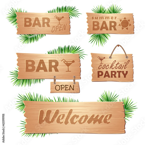set of wooden signboards. Summer
