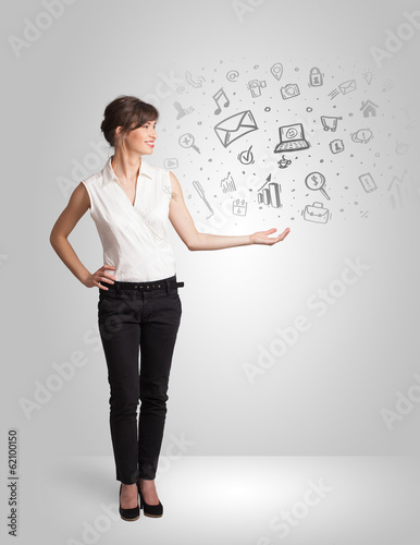 Business girl presenting hand drawn sketch graphs and charts