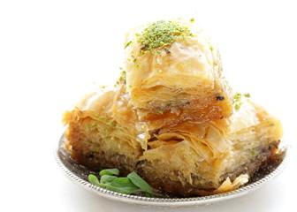 Turkish arabic dessert baklava with honey and nuts