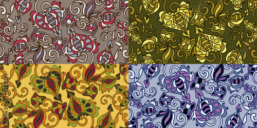 Set of four colorful seamless patterns. EPS-8.