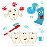 caries tooth toothpaste and  toothbrush -  vector illustration