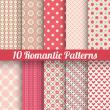 Romantic vector seamless patterns (tiling, with swatch).
