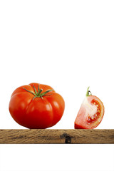 Tomato Slice, Vertical, isolated on white, isolated, Plank
