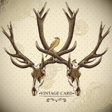 Vintage floral background with a deer skull