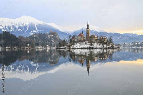 Winter landscape of Bled Lake
