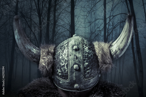 Helmet, Viking warrior, male dressed in Barbarian style with swo - 62102194