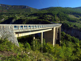 Bridge construction. Durdevica Tara arc bridge in the mountains,