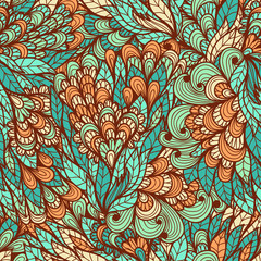 Seamless floral vintage blue and pink hand drawn doodle pattern