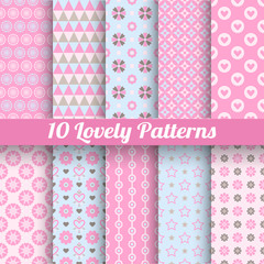 Lovely vector seamless patterns (tiling, with swatch).