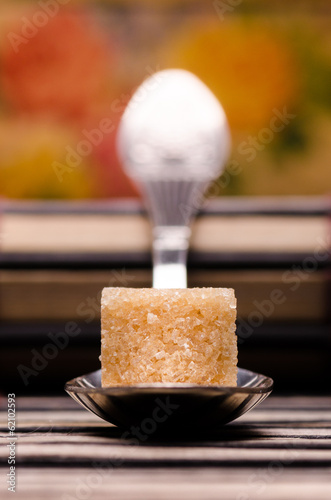 One spoon one cube of brown sugar