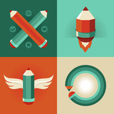 Vector signs in flat style - pencils and icons