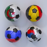 Soccer balls with flags of Belgium, Algeria, Russia, South Korea
