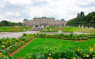 Belvedere Palace with flowers. Vienna.  Austria