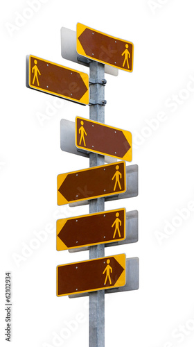 Multidirectional  signpost with blank direction plates.