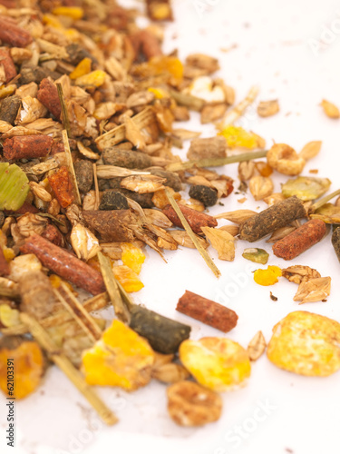 natural  muesli  with live yeast  background for horse. macro