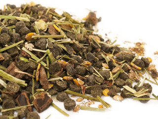 Diet muesli  with herbs background for horse.close up